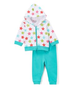 Look at this Sweet & Soft White Stars & Turquoise Pants - Infant on #zulily today!