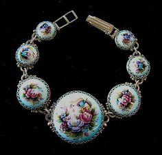 Floral Bracelet Russian Enamel Jewelry by RussianRostovJewell on Etsy