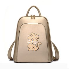 Elegant High-Quality PU Leather Cat Applique Backpack 4 Colors