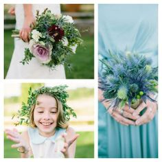 Kale and Thistle!  So much fun this photo shoot was!  Floral Designs done by Village Green Florist, Vt. #blue #thistlebouquet #bouquet #flowergirl #crown