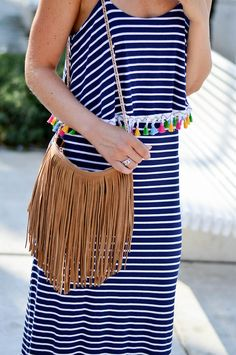 Outfit: Striped maxi dress with pompoms in Split, Croatia - Kationette, Fashionblog, Details, Fringes