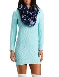 Curved Stitch Sweater Dress #charlotterusse #charlottelook