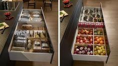 Los cajones de cocina dobles permiten clasificar alimentos, vajilla y elementos voluminosos como ollas o sartenes.