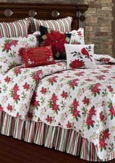 C&F Holly Poinsettia Quilt Collection Christmas Bedroom, Christmas Home, Christmas Decor, Christmas Poinsettia, Christmas Colors, Bedroom Red, Bedroom Decor, Red Bedrooms, Ideas Habitaciones