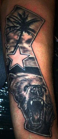 California Tattoos For Girls On Arm california tattoo i really like . Dope Tattoos, Badass Tattoos, New Tattoos, Girl Tattoos, Tattoos For Guys, California Bear Tattoos, Cali Tattoo, State Tattoos, Tatuaje Old School