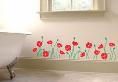 Poppies decal. Great idea for my bedroom wall