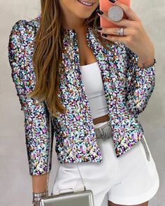 Glitter Long Sleeve Sequins Coat - - Source by Sequin Coats, Sequin Jacket, Glitter Jacket, Trend Fashion, Fashion Outfits, Womens Fashion, Tomboy Outfits, Emo Outfits, Dance Outfits