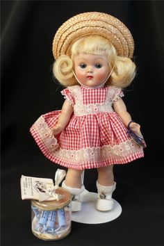 c1950s Vintage Ginny Doll Wavette Hair #80 Red Gingham Dress w/ Curlers in Box