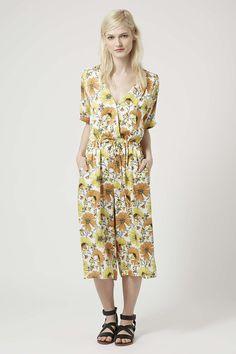 2432c51cbb39 Retro Daisy Print Culotte Jumpsuit Playsuit