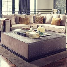 London Cushion Company - Upholstery Workshop in Battersea. Window, Bench Seat Cushions, Made to Measure Curtains and Blinds, Bespoke Furniture. Square Ottoman, Made To Measure Curtains, Bespoke Furniture, Seat Cushions, Blinds, Upholstery, Couch, Interior Design, Big