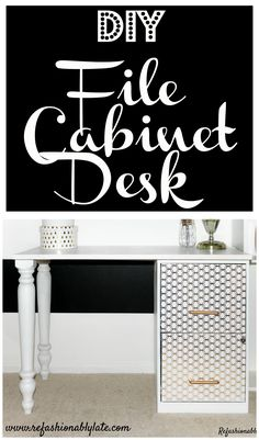 DIY File Cabinet Desk made with furniture legs for The Home Depot Gift Challenge.
