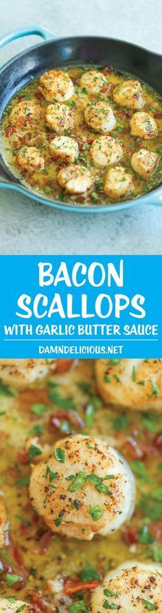 Bacon Scallops with Garlic Butter Sauce - Crisp bacon, tender-melt-in-your mouth scallops with the most heavenly butter sauce. So fancy yet so easy! Fish Recipes, Seafood Recipes, Dinner Recipes, Cooking Recipes, Healthy Recipes, Clam Recipes, Paleo Dinner, Bacon Recipes, Gastronomia
