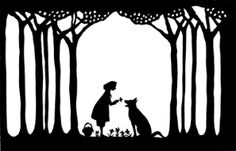 lovely papercut by Cynthia Ferguson depicting Little Red Riding Hood Silhouette Portrait, Silhouette Art, Brothers Grimm Fairy Tales, Shadow Theatre, Charles Perrault, Origami Paper Art, Shadow Puppets, Cricut Vinyl, Red Riding Hood