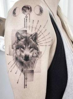 50 Of The Most Beautiful Wolf Tattoo Designs The Internet Has Ever Seen tatouage de loup en traits fins © Zlata Kolomoyskaya Wolf Tattoos, Wolf Tattoo Back, Small Wolf Tattoo, Elephant Tattoos, Feather Tattoos, Lion Tattoo, Wolf Tattoo Design, Skull Tattoo Design, Tattoo Sleeve Designs