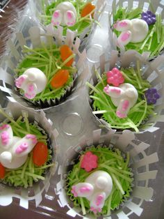 "Cute cupcakes...uses Wilton picket fence wrappers, green frosting on chocolate cupcakes with dyed coconut for grass...make some royal icing carrots for the ""garden"""
