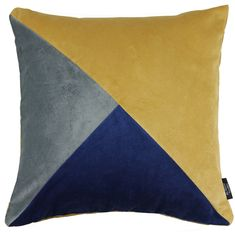 Diagonal Patchwork Velvet Navy, Yellow + Grey Cushion. Luxurious designer velvet cushions and pillows in a full range of hues, completed with a hidden zip opening, knife edging and a plain, solid-colour backing. This design features a funky diagonal pattern in mustard yellow ochre, royal navy blue and dark silver grey colours.