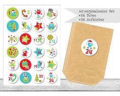 "www.papierbuedchen.de - DIY Adventskalender "" Tüten & Aufkleber "" (K48)"