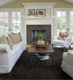 I have always wanted a fireplace surrounded by windows. Think how great that will be on a snowy day!