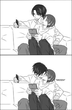 Kawaii ^_^ I think they're Eren and Levi.. I'm not sure though.