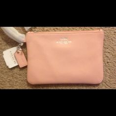 "HP!!! 5/11/15- NWT Coach rare light pink wristlet HP!!! 5/11/15 -Romantic Style Party-NWT Coach rare & HTF light pink leather wristlet.  Super cute!!!  Measures 6 1/2"" in length & 4"" in height- price FIRM Coach Bags"