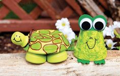 déco de jardin en pots en terre cuite grenouille et tortue