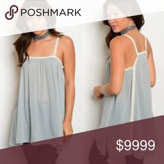 Just arrived!! Lace Detailed Tunic Tank tunic length tank with lace trim and Racer back  100% polyester Tops Tank Tops