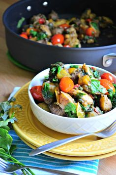 Make this one pot Italian sausage skillet tonight! It's so good, full of potatoes and peppers too. It'll be your new favorite.