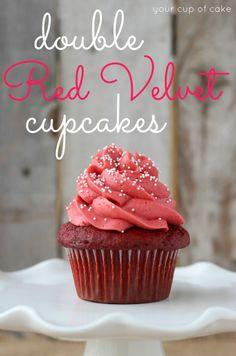 Double Red Velvet Cupcakes Recipe ~ with Red Velvet Cake Batter Frosting