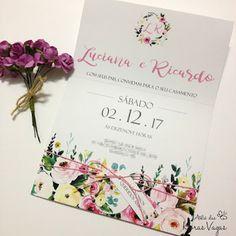 convite de casamento estampa floral aquarelado boho chic delicado