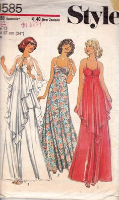 Style 1585 vintage sewing pattern ©1976 Misses Dress and Cape: Lined dress with shaped high-line bodice has back zipper and self fabric