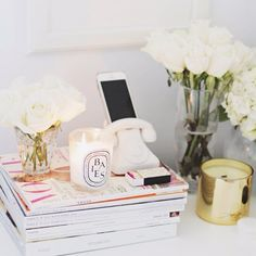Click the photo to shop the look | Stephanie of Stephanie Sterjovski featuring Diptyque Baies candle, Kate Spade bud vase, and Jonathan Adler smart phone dock  | Follow @liketkit on Pinterest for more outfit inspiration #liketkit