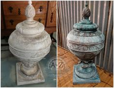 From boring, stained ceramic to lovely copper patina! Base Coat is Webster's Chalk Paint Powder in Bermuda Turquoise, Faux Finished with Modern Masters Metal Effects Copper and Bronze Metallic Paint