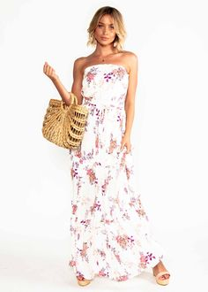 3a434ff14 PRE-ORDER : Lucina Strapless Maxi Dress - Floral Bliss | Gingham and Heels