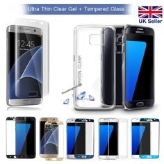 Ultra Thin Clear TPU Gel Case Cover + Tempered Glass for Samsung Galaxy S7 Edge