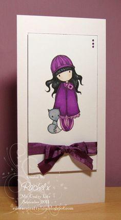 My Crafty Life: Gorjuss in Purples :) Handmade card, Sugar Nellie, Gorjuss Girls, CAS, Clean and Simple