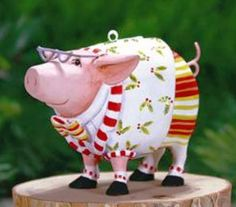 XMAS KRINKLES'NORBERT DRESSED UP PIG'MINI ORNAMENT  PATIENCE BREWSTER DECORATION