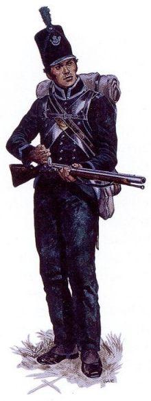 Glengarry Light Infantry private.  #Warof1812.  http://discover1812.blogspot.ca/2012/09/black-stump-brigade.html