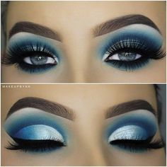 Eyemakeupart provides new eye makeup tutorial. How to make up your eye and how to do special design your eye. Eye Makeup Blue, Blue Eyeshadow Looks, Pretty Eye Makeup, Makeup Eye Looks, White Eyeshadow, White Makeup, Glam Makeup, Gorgeous Makeup, Love Makeup