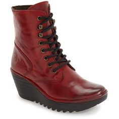 Women's Fly London 'Ygot' Platform Wedge Boot ($230) ❤ liked on Polyvore featuring shoes, boots, ankle booties, red nevada leather, lace up boots, red lace up boots, creeper boots, red ankle booties and red booties