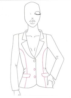 How to draw a business jacket step by step tutorial for fashion sketches