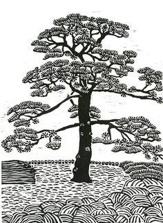 ORIGINAL LINOCUT - Japanese Pine - Relief Print - Wall Art Wall Decor - Relief Print