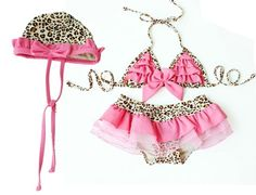 Pink Leopard Bikini Tutu Swimsuit Set-wholesale pink leopard bikini swim suit  SOPHIE NEEDS THIS!