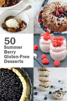 Summer's not over yet, so indulge your berry cravings with 50 luscious Summer Berry Gluten-Free Desserts! Healthy Gluten Free Recipes, Gluten Free Sweets, Allergy Free Recipes, Gluten Free Breakfasts, Gluten Free Baking, Paleo Recipes, Cobbler, Fudge, No Bake Treats