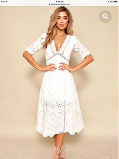 Summer Outfits, Casual Outfits, Casual Clothes, White Fashion, Boho Fashion, White Eyelet Dress, Outfit Goals, Formal Dresses, Wedding Dresses