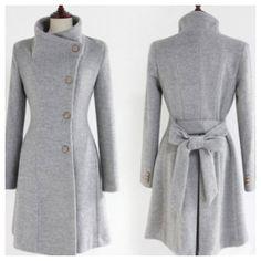 women's Fitted Wool autumn winter Pashm Coat jacket / dress Wool Jacket Women Coat grey Coat S-XL ( without the bow) Langer Mantel, Winter Stil, Mode Hijab, Wool Dress, High Collar, Jacket Dress, Wool Coat, Winter Fashion, Women's Fashion