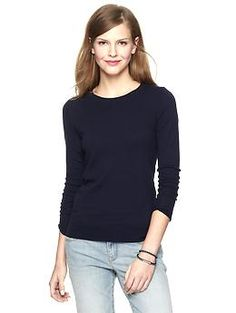 Luxlight crew pullover | Gap (you can usually get 30% off, so the price can be $28 and lower). High quality fabric, light enough for all seasons, and modest.