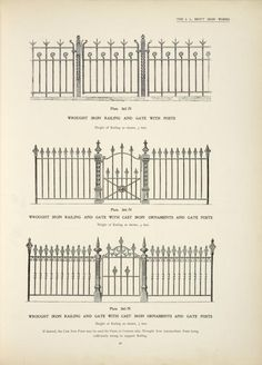 Wrough iron railing and gate with posts