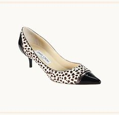 Jimmy Choo Leah cheetah-print pony hair and patent-leather pump