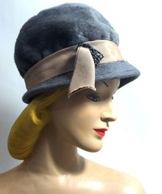 Grey Felted Fur Slouch Hat w/ Ribbon and Beaded Accent circa 1960s - Dorothea's Closet Vintage