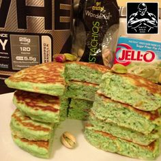 Pistachio Protein Pancakes 3/4 cup quick cooking oats 1/2 cup egg whites 1 egg 1 mashed banana 1/2 tsp baking powder 1/2 tsp almond extract 2 TBS chopped pistachios (about 10) 1 scoop Cellucor whipped vanilla protein powder 1 TBS Jello sugar free pistachio pudding mix 1/2 cup unsweetened apple sauce 5 drops green food coloring